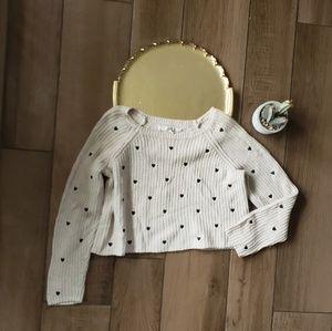 LC Lauren Conrad Cream Heart Crop Sweater M